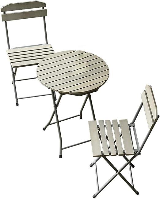 LL-ZY Conjunto Plegable de 1 Mesa y 2 sillas para Terraza Jardín Muebles Salón de Exterior Interior y 2 Sillas Muebles para Jardín Exterior Patio Terraza Silla Plegable Respaldo Reclinable: Amazon.es: Jardín