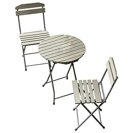 LL-ZY Conjunto Plegable de 1 Mesa y 2 sillas para Terraza ...