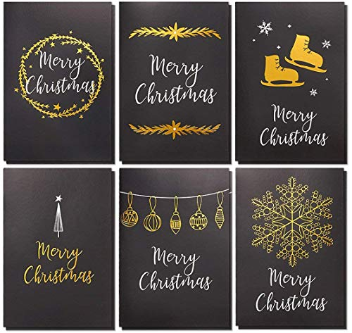 (36-Pack Merry Christmas Greeting Cards Bulk Box Set - Winter Holiday Xmas Greeting Cards in 6 Black Designs with Gold Foil Accents, Envelopes Included, 4 x 6 Inches)