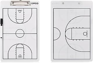 GOGO Basketball Double Sided Coaching Board, Easy-Wiped Erasable Coach Clipboard, 14' x 9' Strategy Board