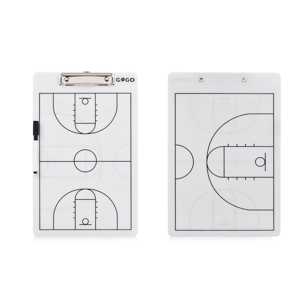 GOGO Basketball Coach's Reversible Dry Erase Board, Easy-Wiped Erasable Clipboard-Basketball