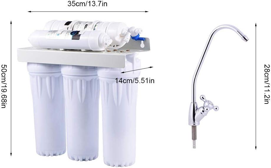 EBTOOLS Sistema de Filtrado de Agua 6 Etapas, Purificador de Agua de Ultrafiltración Bajo Fregadero con Elemento filtrante, Montado en la Pared o en Escritorio ...