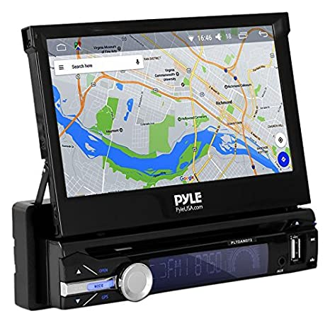 Premium 7in Single Din Android Car Stereo Receiver With Bluetooth And Gps Navigation Pop Out Touchscreen Motorized Slide Out Display Screen With