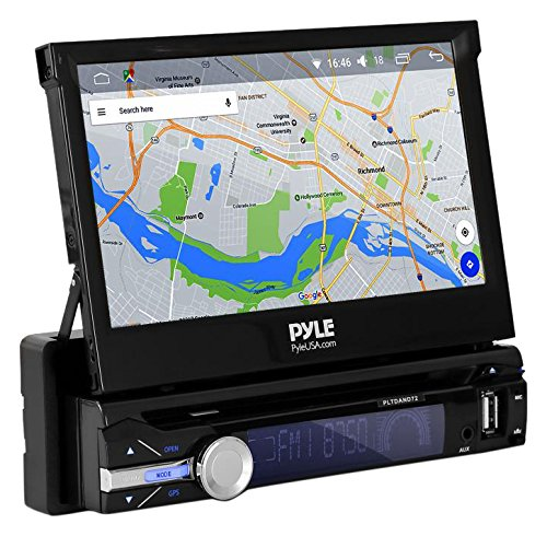Premium 7In Single-DIN Android Car Stereo Receiver With Bluetooth and GPS Navigation - Pop-Out Touchscreen Motorized Slide-Out Display Screen With Wi-Fi Web Browsing, App Download And CD/DVD Player by Pyle