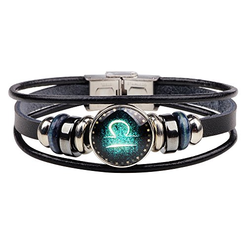 CHUYUN Retro 12 Zodiac Constellation Beaded Hand Woven Leather Bracelet Punk Chain Cuff ()