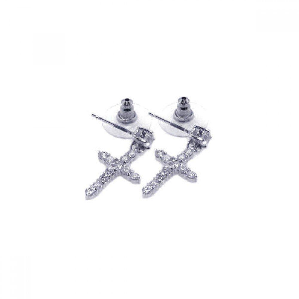 Clear Cubic Zirconia Cross Stud Earrings Rhodium Plated Sterling Silver