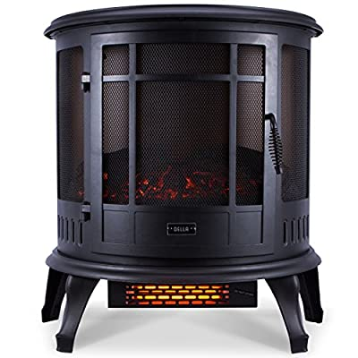 1500W Fireplace Heater Fire Free Standing Electric Flame Wood Stove Adjustable by Tamsun