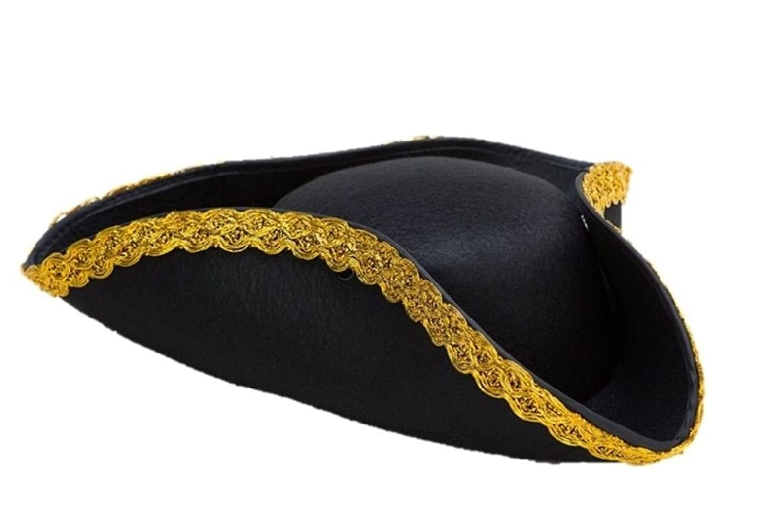 Men's Black Felt Tricorn Pirate Colonial Gold Trim Hat - DeluxeAdultCostumes.com