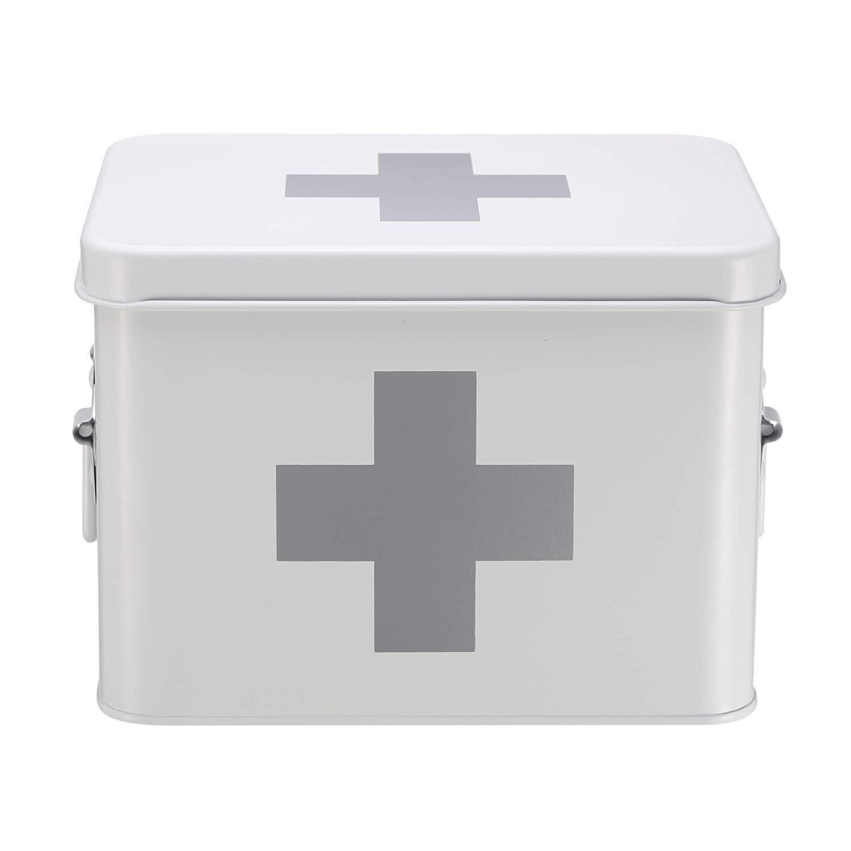 Lxrzls White Medicine Box, Medicine Tin with Double Layer and 5 Compartments, Metal Medicine Storage Box, 21.5 X 15 X 16 cm