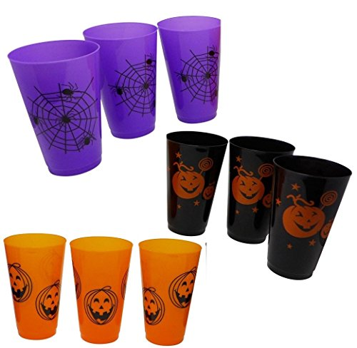 9 Halloween Plastic Tumblers Glasses (Large Cups - 14 oz) - Bulk Halloween Party Supply, Decorative Tableware, Table Supplies Platters, Jack-O-Lantern Print, Trick or Treat giveaways, Gifting (Table Ideas For Halloween Party)