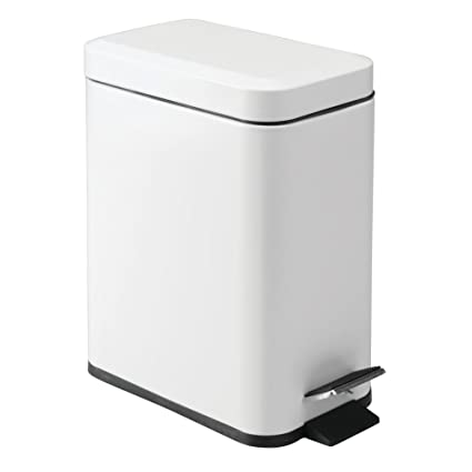 InterDesign Basic Pedal Bin, Slim Trash Can Ideal For Bathrooms And Kitchens,  Made Of