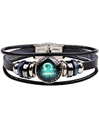 Retro 12 Zodiac Constellation Beaded Hand Woven Leather Bracelet Punk Chain Cuff