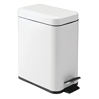 mDesign 5 Liter Rectangular Small Steel Step Trash Can Wastebasket, Garbage Container Bin for Bathroom, Powder Room, Bedroom, Kitchen, Craft Room, Office - Removable Liner Bucket - Matte White