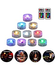 10 Pack Submersible LED Lights Remote Controlled Underwater Tealight Waterproof Multicolored RGB Lights Battery Operated Hot Tub Lights for Vase Base Swimming Pool Aquarium Fountain Decoration