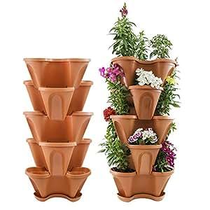 "Houseables 5 Tier Planter, Stackable, 28"" H x 12"" W, Polypropylene, Terracotta, Vertical, Self-Watering, 5-Tiered Pots, Indoor/Outdoor Strawberry Garden Kit, for Flowers, Vegetables, Herbs, Gardening"