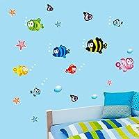 Pegatina adhesiva peces tropicales pared baño, mampara baño, cuartos infantiles, vestidores, baños caravanas... de OPEN BUY: Amazon.es: Hogar