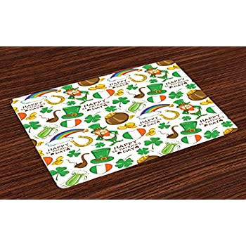 Amazon Com Ambesonne St Patrick S Day Place Mats Set Of