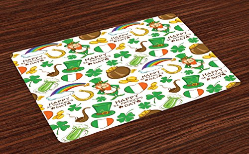 Ambesonne St. Patrick's Day Place Mats Set of 4, Irish Party Pattern Beer Leprechaun Flag Hearts Rainbow Gold Shamrock, Washable Fabric Placemats for Dining Table, Standard Size, Shamrock Green (Day St Placemats Patricks)