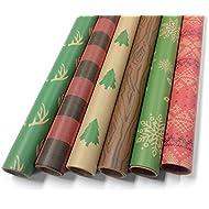 "Kraft Rustic Wrapping Paper Set - 6 Rolls - Multiple Patterns - 30"" x 120"" per Roll"