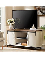 """WAMPAT Retro Sliding Barn Door TV Stand,Farmhouse Wood Entertainment Center for TVs Up to 65"""",Storage Cabinets with 2 Gliding Doors & Adjustable Shelves, Home Living Room Furniture,White"""
