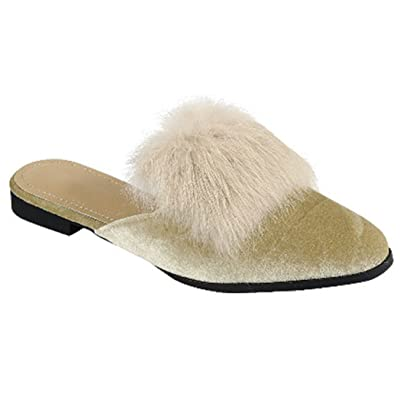 Christmas Time Victoria Designer Furry Flat Heel Slip On Scuff Slippers Shoes for Women (Assorted Styles) | Slippers