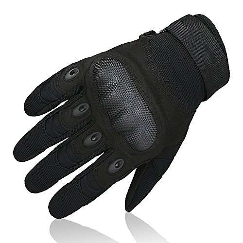 OMGAI Upgraded Men's Full Finger Tech Touch Gloves Motorcycle Hard Knuckle Gloves for Airsoft Tactical Hiking Camping Outdoor Sports Black, XL