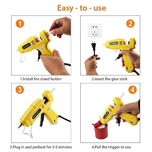 Hot Glue Gun, BOJECHER Full Size 60/100W Dual Power Hot Melt Glue Gun with 20pcs Glue Sticks (0.43 x 7.8) High Temperature Melt Adhesive Glue Gun Kit for Home DIY Craft Projects and Industrial Repair by BOJECHER (Image #5)