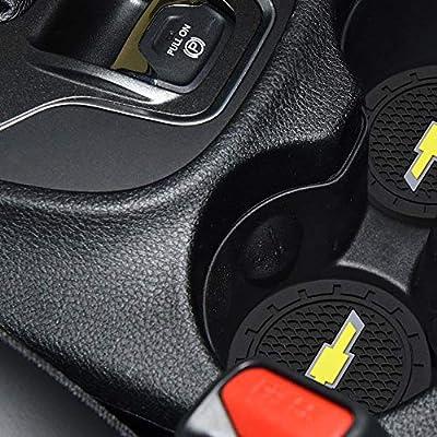 4Car4U Cup Holders Insert Coaster Automotive Accessories for Chevrolet Silverado Colorado Suburban Corvette Equinox Trailblazer Captiva Spark Orlando Sail Cruz Camaro Monza (2.75