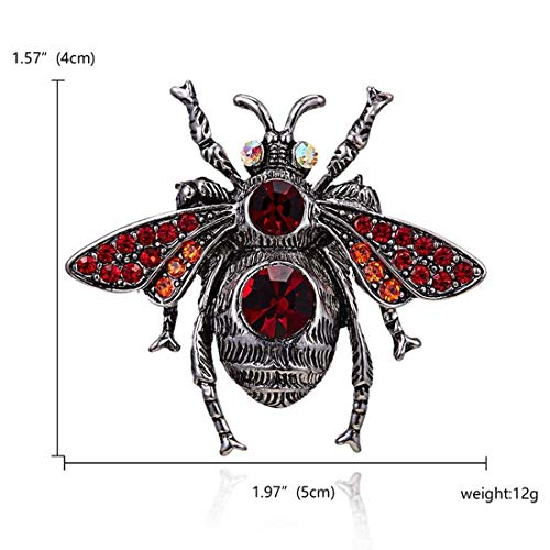 New Women Girl Brooch Pin Badge Emblem Corsage High-End Vintage Bee Rhinestone Trend Creative Insect Personality Wild Clothing Dress Garment Accessories ()