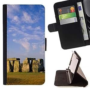 For Samsung Galaxy E5 E500 Case , Arquitectura Stongehenge antigua Isla de Pascua- la tarjeta de Crédito Slots PU Funda de cuero Monedero caso cubierta de piel