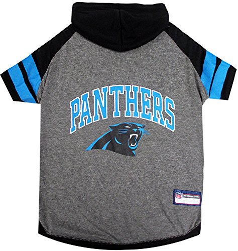 Image of NFL Carolina Panthers Hoodie for Dogs & Cats. | NFL Football Licensed Dog Hoody Tee Shirt, Medium | Sports Hoody T-Shirt for Pets | Licensed Sporty Dog Shirt.