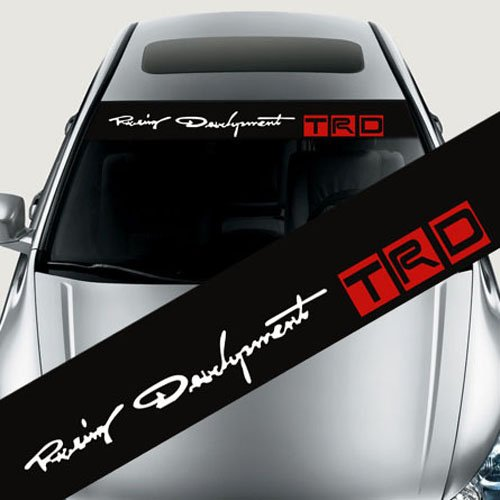 Etie 125x20cm Reflective TRD Front Windshield Banner Decal Car Sticker for Toyota Auto Exterior Modifield Accessories (Black Background)