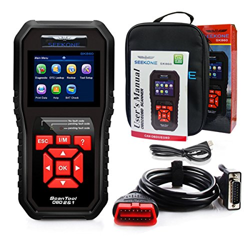 51KS19whXTL - SEEKONE OBD2 Scanner, Professional Car Auto Diagnostic Code Reader OBDII & CAN Vehicle Engine O2 Sensor Systems EOBD Scanners Tool for all OBDII Protocol Cars Since 1996(Upgraded SK860)