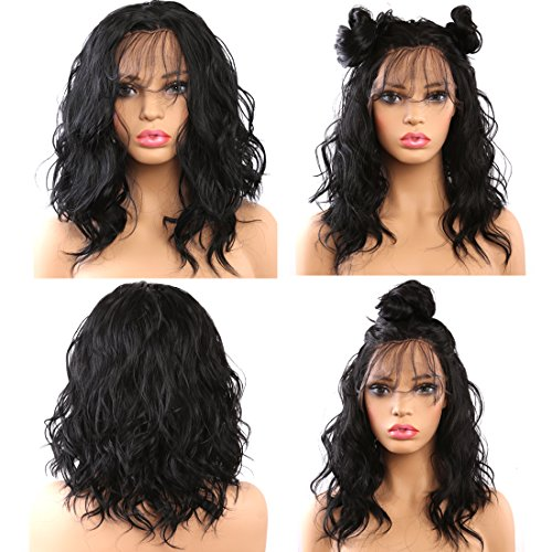 Helene Glueless Lace Front Wigs Short Bob Natural Wave Realistic Looking Natural Synthetic Lace Front Wig Natural Hairline Heat Resistant Fiber Wig for Women with Baby Hair (16 Inch Black Color) ()