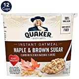 Quaker Instant Oatmeal Cups, Maple & Brown Sugar, 1.69oz Cup (12 Pack)