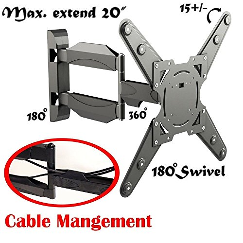 2xhome - Full Motion Articulating Swivel ARM - Cable Management - Corner Single Stud Tilt LCD LED Tv Monitor Wall Mount