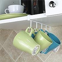 Chrome Kitchen Under Worktop / Shelf 5 x Mug Tea Cup Storage Hook Rack Holder