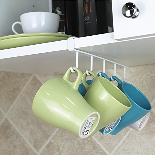 Chrome Kitchen Under Worktop / Shelf 5 x Mug Tea Cup Storage Hook Rack Holder Yanoen