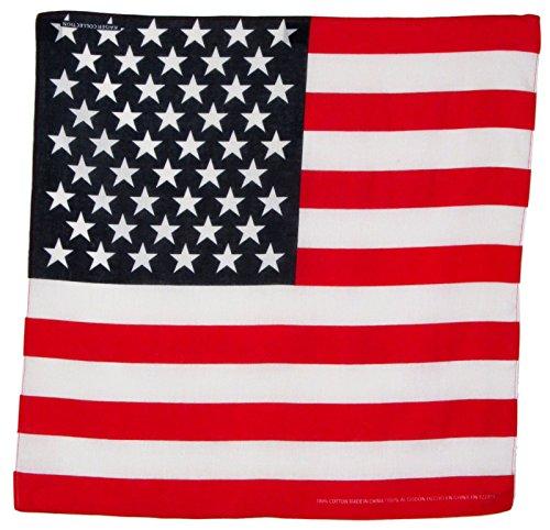(L&M 12Pcs Bandanas 100% Cotton Paisley Print Head Wrap Scarf Wristband (American Flag))