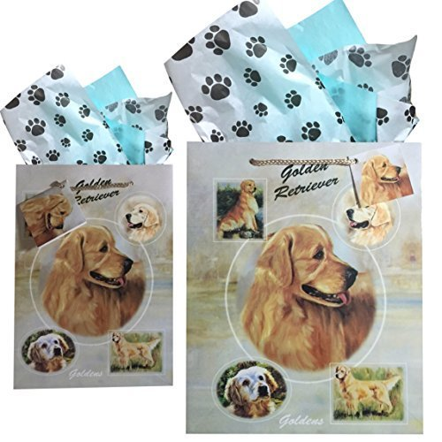 Dog Breed Gift Bags Set of Two with Tissue Paper (Golden Retriever) ()