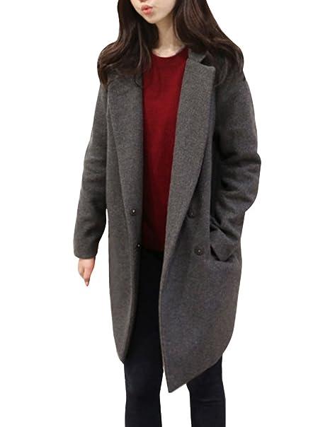 56a8e362d9906c LaoZan Donna Slim Cappotti di Lana Blended Giacca Manica Lunga Open Front  Invernali Cardigan Lungo Blazer: Amazon.it: Abbigliamento
