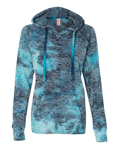(Weatherproof W1162 Ladies' Burnout Hooded Pullover Blend Fleece - Caribean Wave -)