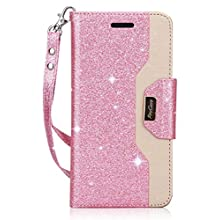ProCase Galaxy S9 Wallet Case, Flip Kickstand Case with Card Holders Mirror Wristlet, Folding Stand Protective Book Case Cover for 5.8 Inch Galaxy S9 (2018 Release) -Glitter Pink