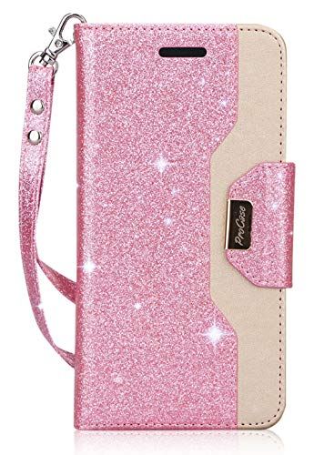 ProCase Galaxy S9 Wallet Case, Flip Kickstand Case with Card Holders Mirror Wristlet, Folding Stand Protective Book Case Cover for 5.8 Inch Samsung Galaxy S9 (2018 Release) -Glitter Pink
