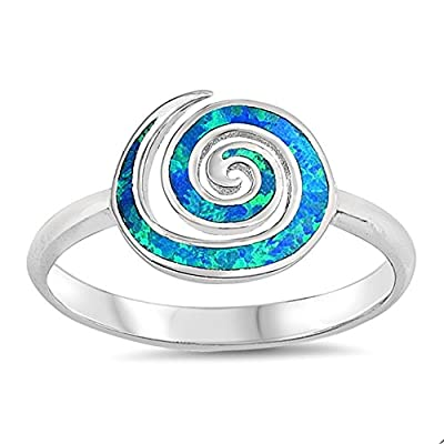 Blue Simulated Opal Swirl Ring Sterling Silver get discount