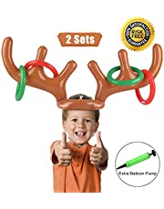 PROACC 2 PCS Party Toss Game, Inflatable Reindeer Antler Hat with Rings for Family Kids Office Xmas Fun Games ( 2 Antlers 8 Rings ) by