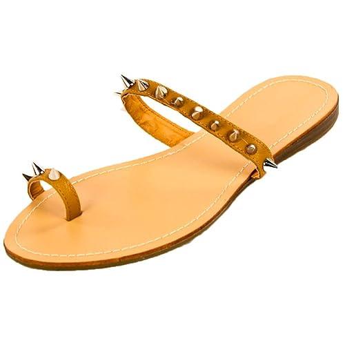 2388d32891af1 H2K 'Rockstar' Women's Fashion Comfy Spike Studded Toe Strap Flat Sandals  Flip Flops Slippers