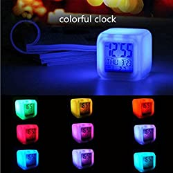 Alarm Clock, Oldeagle Digital Alarm Thermometer Night Glowing Cube LED 7 Colors Changing Alarm Clock