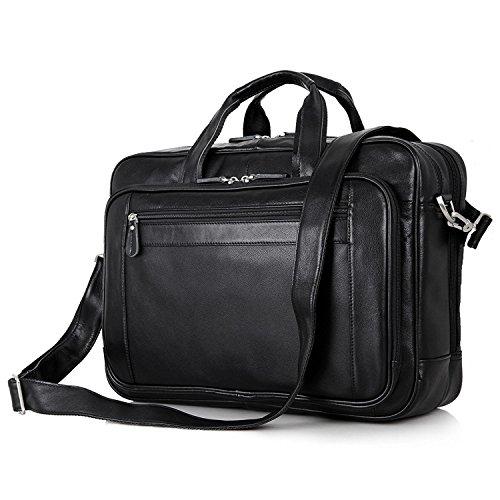 BAIGIO Leather Work Bag Business Briefcase 17'' Laptop Shoulder Bag Computer Attache Case (Black) by BAIGIO