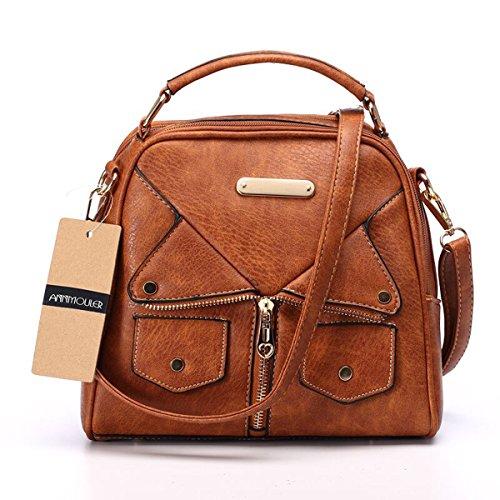 Women Double Zipper Handbag Pu Leather Fashion Ladies Shoulder Bag Women Crossbody Bag (Tan Plaid Backpack)